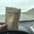 My sample bag of Keto Farms snack mix from my cross country road trip