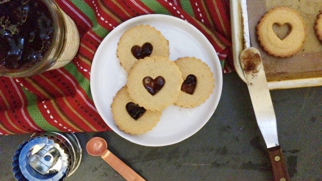 Vegan Keto Raspberry Linzer Cookies for Christmas