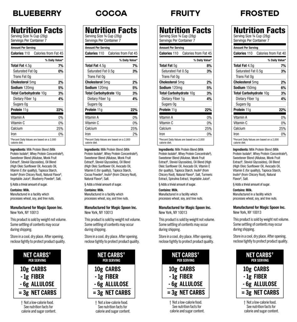 Nutrition labels of 4 Magic Spoon Keto Cereals - Variety Pack
