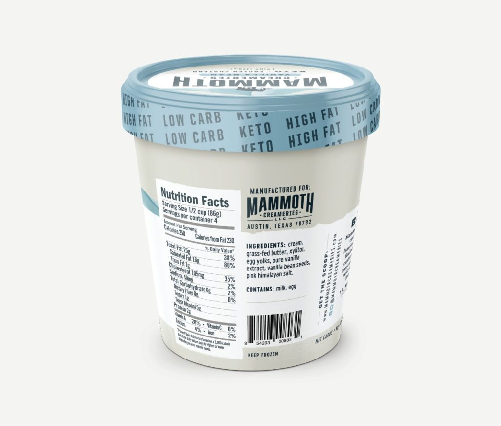 Mammoth Creameries keto ice cream nutrition label - vanilla bean