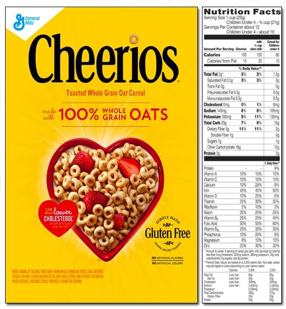 Cheerios nutrition label