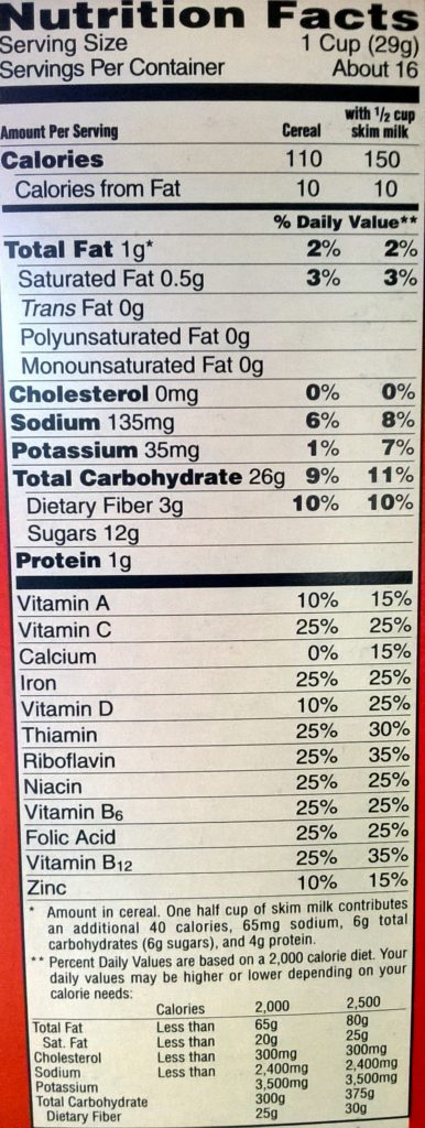 froot loops cereal nutrition label